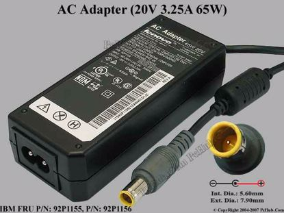 Picture of IBM Thinkpad Series AC Adapter- Laptop 92P1155, 20V 3.25A, Pin, (2-prong)