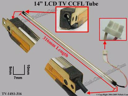 Length: 316mm, Side Height: 10/9mm, TV-14S1-316