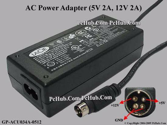 Other Brands Lacie AC Adapter 5V-12V 12V 2A, 5V 2A, 4P, P1=5V, P4=12V,  2-Prong