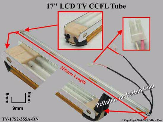 Length: 355mm, Side Height: 6/5mm, TV-17S2-355A-DN