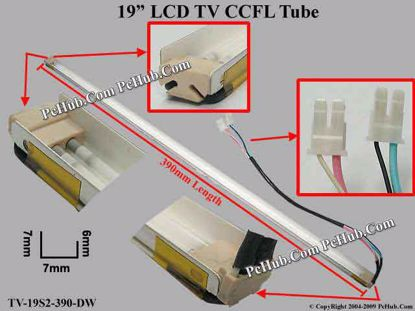 Length: 390x7mm, Side High: 7/6mm, TV-19S2-390-DN