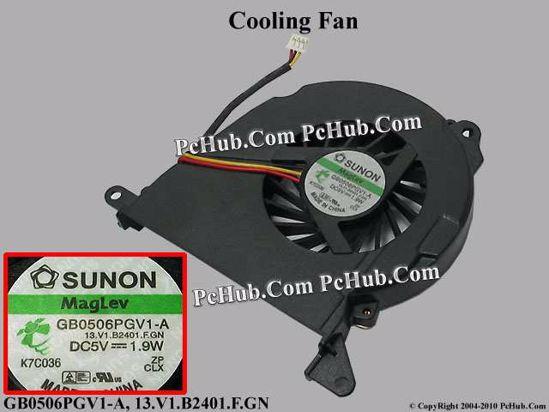 SUNON GB0506PGV1-A Cooling Fan 13 V1 B2401 F GN, DC5V 1 9W, Bare, 3-pin
