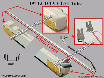 Length: 425x7mm, Side Height: 9/5mm, TV-19W2-425A-