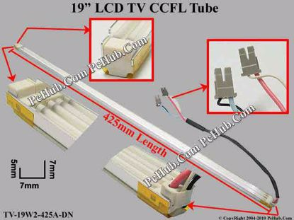Length: 425x7mm, Side Height: 9/6mm, TV-19W2-425A-