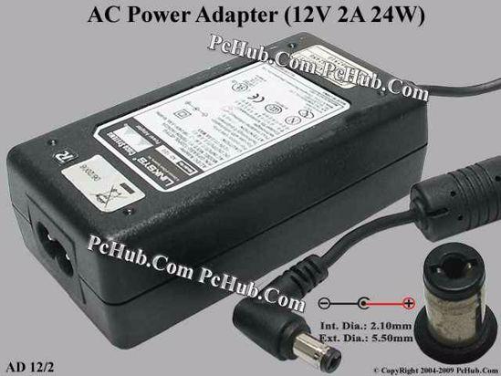 Linksys AD 12/2 AC Adapter 5V-12V 12V 2A, 2 1/5 5mm, 2-Prong