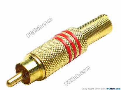 69928- Red Belt Alloy Handle. Gold Tone Plug