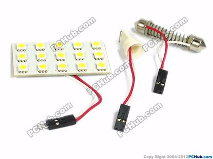 75078- T10 / Festoon. 15x5050 SMD White LED Light