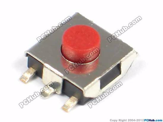 SMD switch, 6.5x6.5x3.4mm, Red button