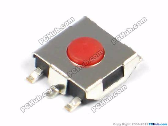 Red button, 6.5x6.5x2.5 mm (LxWxH, Exclude Leg)