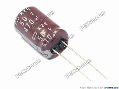 Picture of NCC Capacitor Electrolytic 50V - 63V 50v 470uF, 13x20mm Height
