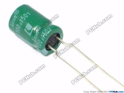 50v 100uF, 8x12mm Height, Licon