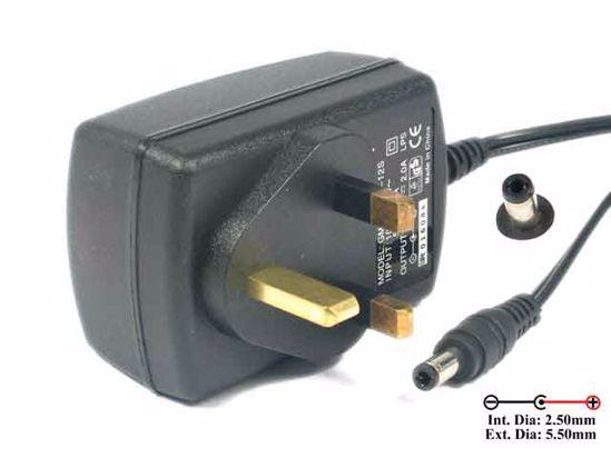 PCH OEM Power AC Adapter 5V-12V 12V 2A, 5 5/2 5mm, UK 3-Pin Plug, New
