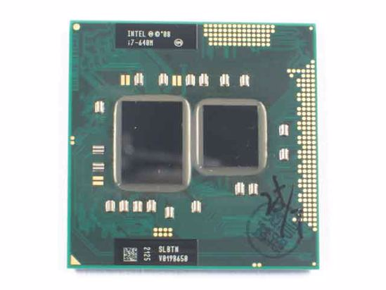 Intel Core i7-640M CPU Mobile (Pin Grid Array) 32nm, SLBTN (K0), 2 8 GHz, 4  MB, Dual-Core, Used
