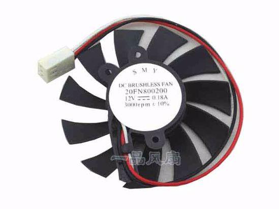 SMY 20FN800200 Server - Frameless / GPU Fan 12V 0 18A, W80x3x3,  D65xC34x31x13, Black