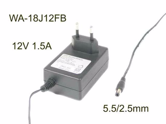 APD / Asian Power Devices WA-18J12FB AC Adapter 5V-12V 12V 1 5A, Barrel  5 5/2 5mm, EU 2-Pin Plug, New