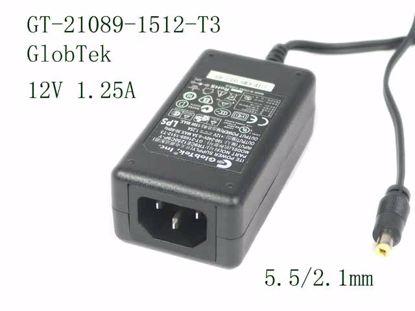 Picture of GlobTek  GT-21089-1512-T3 AC Adapter 5V-12V 12V 1.25A, 5.5/2.1mm, C14
