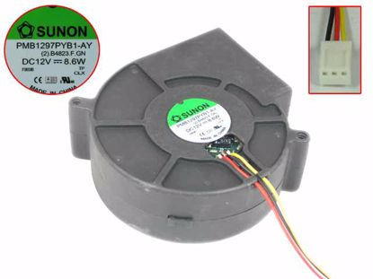 Picture of SUNON PMB1297PYB1-AY Server - Blower Fan (2).B4823.F.GN, bw97x97x33mm, 3-wire, DC 12V 8.6W