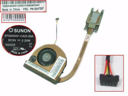 Picture of Lenovo ThinkPad T450  Cooling Fan  00HT597, 5V 2.25W Heatsink, W50x4x4xP