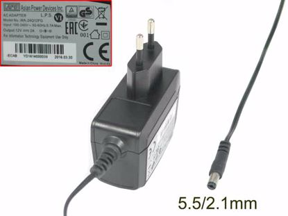 Picture of APD / Asian Power Devices WA-24Q12FG AC Adapter 5V-12V 5.5/2.1mm, EU 2-Pin Plug, NEW
