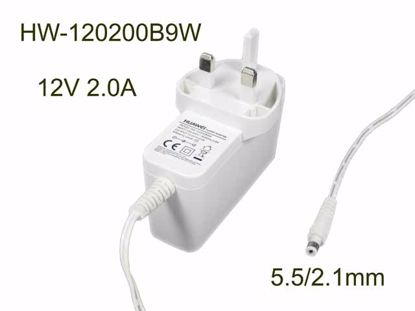 Picture of Huawei HW-120200B9W AC Adapter 5V-12V 12V 2.0A, Barrel 5.5/2.1mm, UK 3-Pin, White
