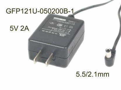 Picture of GME GFP121U-050200B-1,GFP121C-0520,  AC Adapter 5V-12V 5V 2A, 5.5/2.1mm, US 2P Plug
