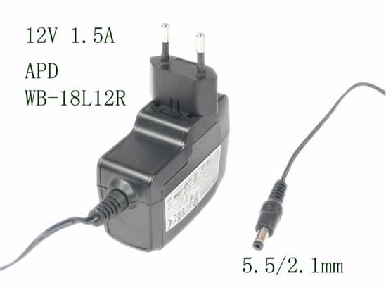 Picture of APD / Asian Power Devices WB-18L12R AC Adapter 5V-12V 12V 1.5A, Barrel 5.5/2.1mm, EU 2-Pin Plug