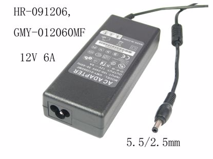 Picture of PCH OEM Power AC Adapter - Compatible HR-091206, GMY-012060MF, 12V 6A, 5.5/2.5mm, 3-Prong, New